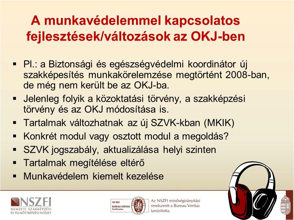 A munkavédelemmel kapcsolatos fejlesztések/változások az OKJ-ben  Pl.: a Biztonsági és egészségvédelmi koordinátor új szakképesítés munkakörelemzése