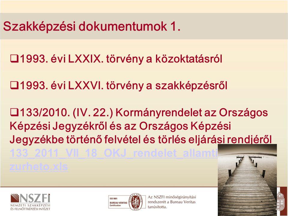 Szakképzési dokumentumok 1.  1993. évi LXXIX. törvény a közoktatásról  1993. évi LXXVI. törvény a szakképzésről  133/2010. (IV. 22.) Kormányrendele