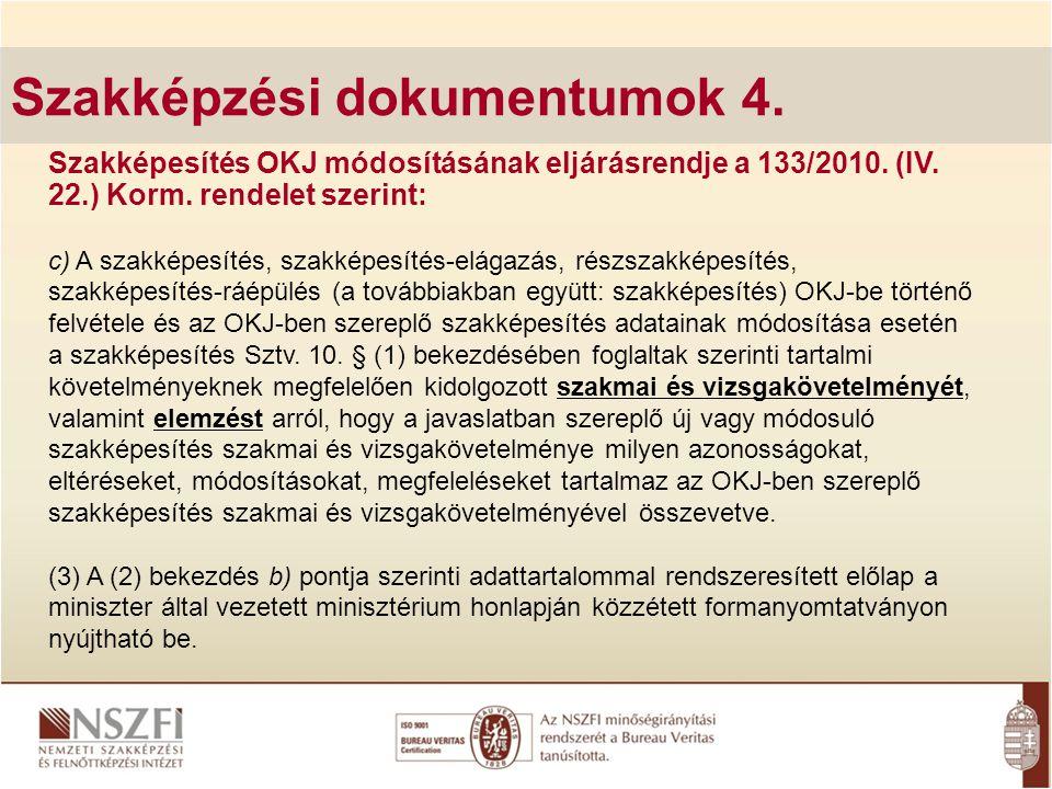 Szakképzési dokumentumok 4. Szakképesítés OKJ módosításának eljárásrendje a 133/2010. (IV. 22.) Korm. rendelet szerint: c) A szakképesítés, szakképesí