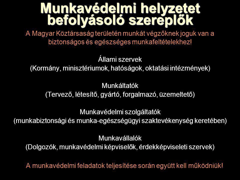 Munkavédelmi helyzetet befolyásoló szereplők A Magyar Köztársaság területén munkát végzőknek joguk van a biztonságos és egészséges munkafeltételekhez.