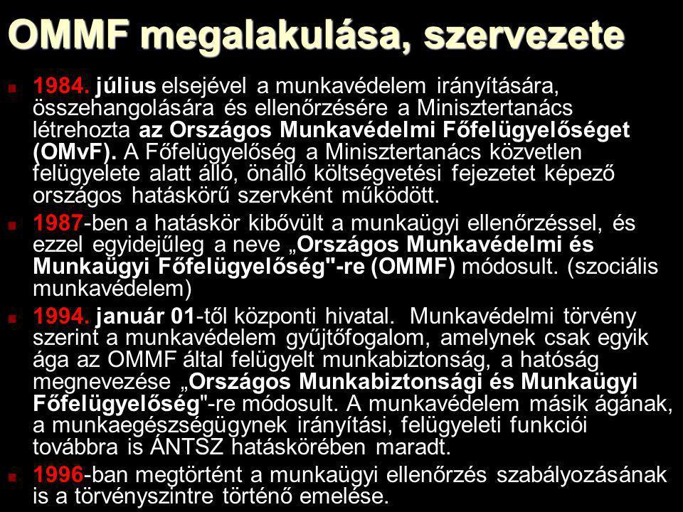OMMF megalakulása, szervezete 1984. július elsejével a munkavédelem irányítására, összehangolására és ellenőrzésére a Minisztertanács létrehozta az Or