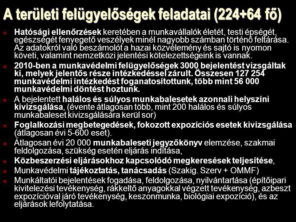 A területi felügyelőségek feladatai (224+64 fő) Hatósági ellenőrzések keretében a munkavállalók életét, testi épségét, egészségét fenyegető veszélyek