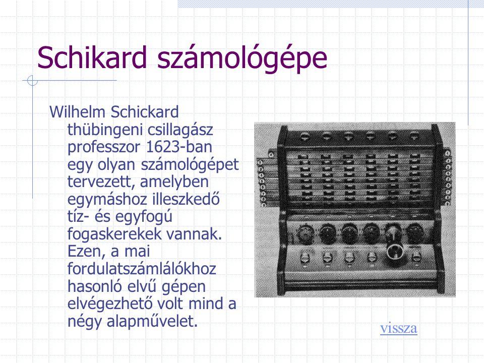 Schikard számológépe Wilhelm Schickard thübingeni csillagász professzor 1623-ban egy olyan számológépet tervezett, amelyben egymáshoz illeszkedő tíz- és egyfogú fogaskerekek vannak.