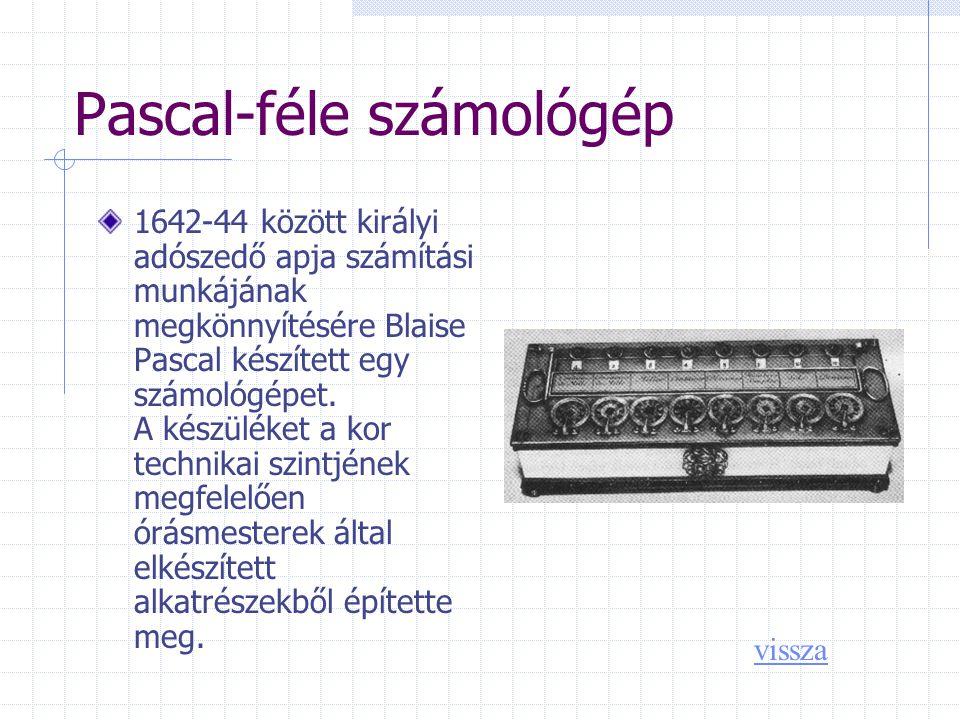 Pascal-féle számológép 1642-44 között királyi adószedő apja számítási munkájának megkönnyítésére Blaise Pascal készített egy számológépet.