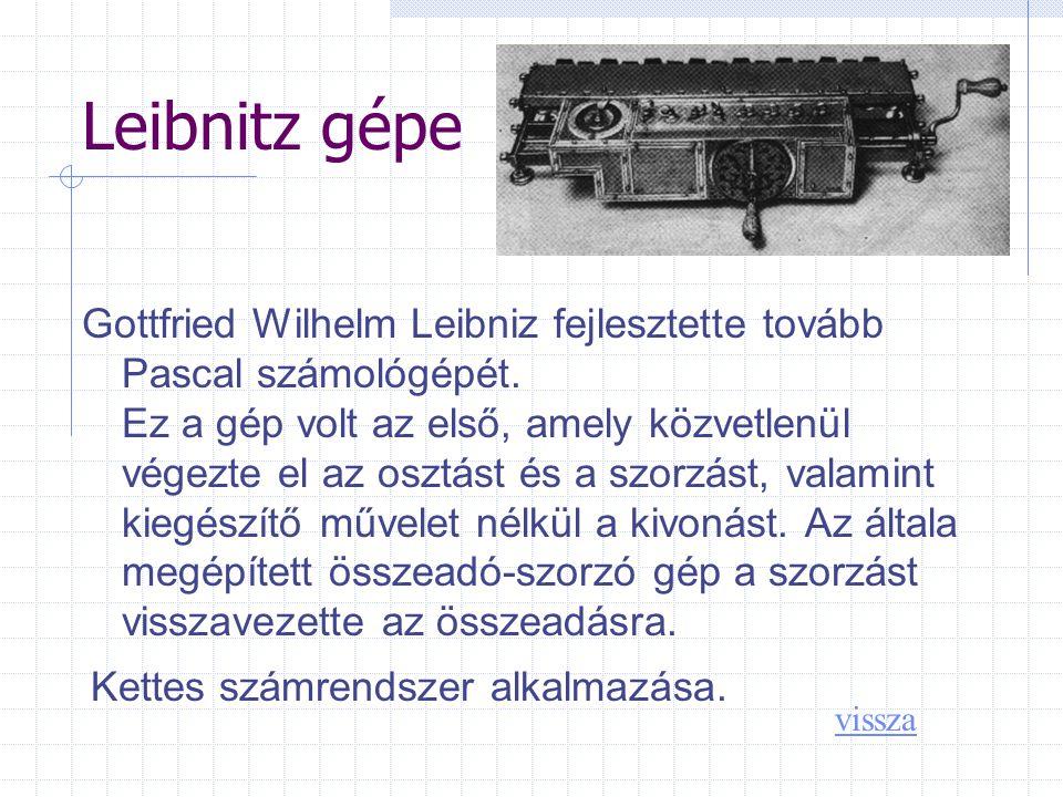 Leibnitz gépe Gottfried Wilhelm Leibniz fejlesztette tovább Pascal számológépét.