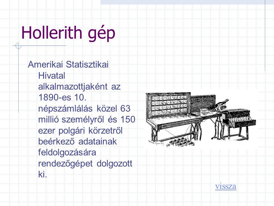 Hollerith gép Amerikai Statisztikai Hivatal alkalmazottjaként az 1890-es 10.