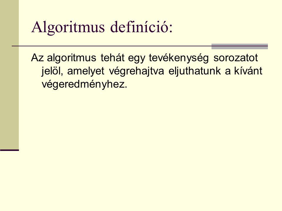 Algoritmus definíció: Az algoritmus tehát egy tevékenység sorozatot jelöl, amelyet végrehajtva eljuthatunk a kívánt végeredményhez.