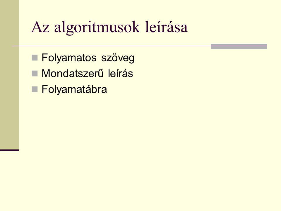 Az algoritmusok leírása Folyamatos szöveg Mondatszerű leírás Folyamatábra