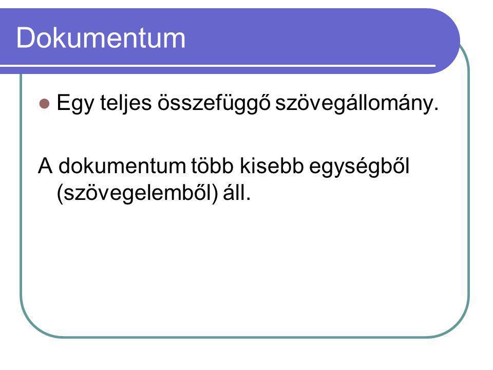 Dokumentum Egy teljes összefüggő szövegállomány.