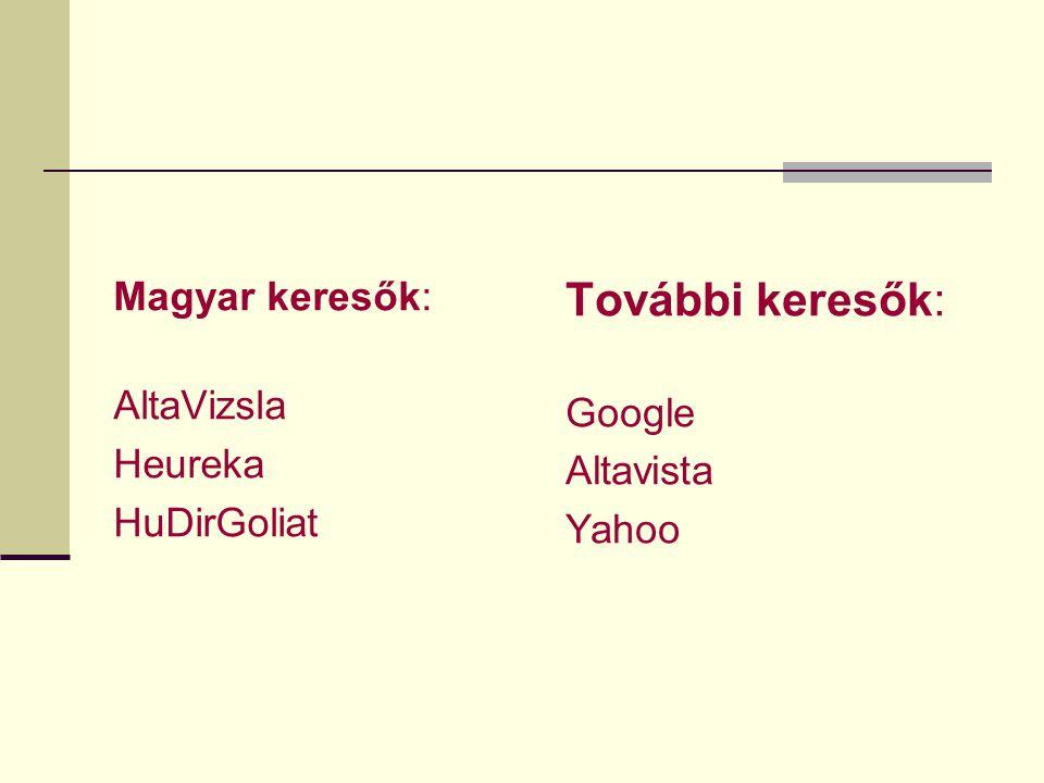 Magyar keresők: AltaVizsla Heureka HuDirGoliat További keresők: Google Altavista Yahoo