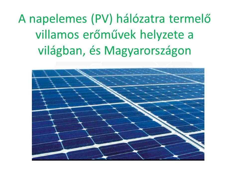A napelemes (PV) hálózatra termelő villamos erőművek helyzete a világban, és Magyarországon