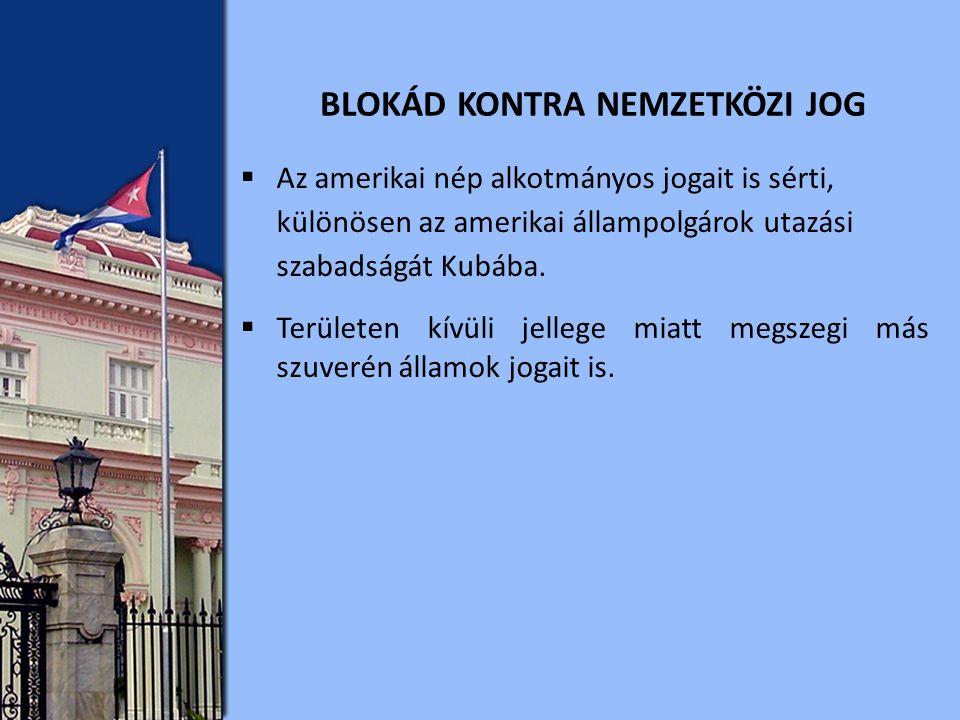  Az amerikai nép alkotmányos jogait is sérti, különösen az amerikai állampolgárok utazási szabadságát Kubába.