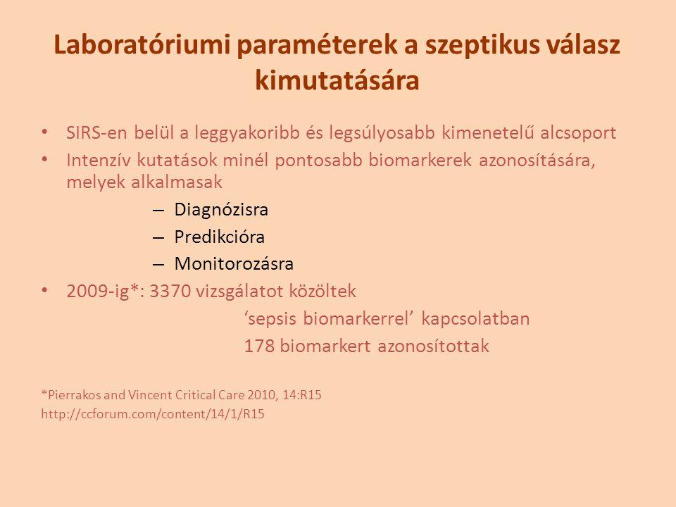 SIRS-en belül a leggyakoribb és legsúlyosabb kimenetelű alcsoport Intenzív kutatások minél pontosabb biomarkerek azonosítására, melyek alkalmasak – Diagnózisra – Predikcióra – Monitorozásra 2009-ig*: 3370 vizsgálatot közöltek 'sepsis biomarkerrel' kapcsolatban 178 biomarkert azonosítottak *Pierrakos and Vincent Critical Care 2010, 14:R15 http://ccforum.com/content/14/1/R15 Laboratóriumi paraméterek a szeptikus válasz kimutatására