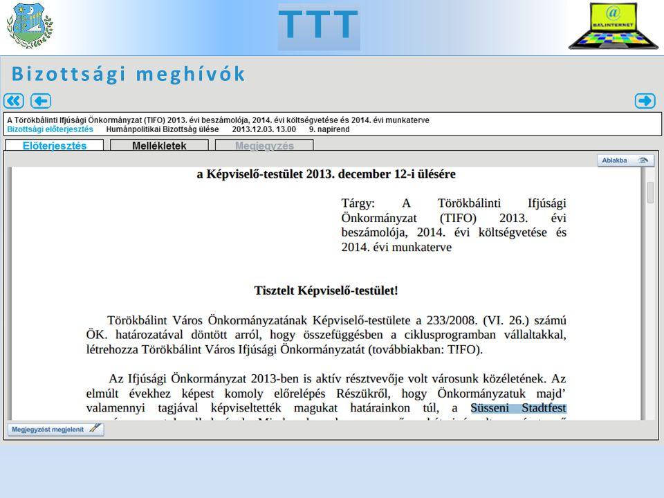 TTT Bizottsági meghívók