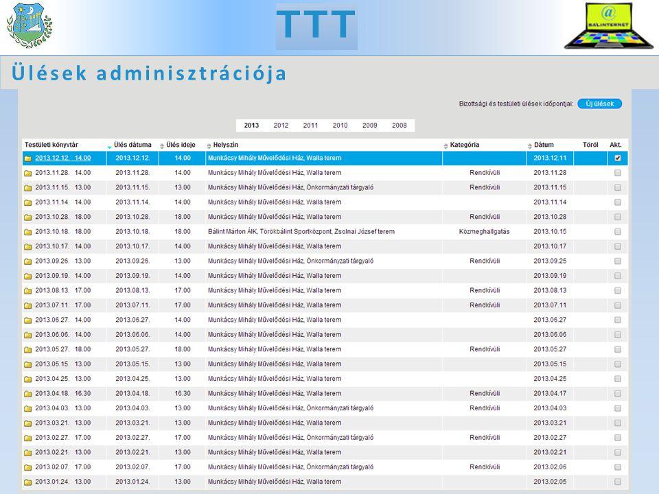 TTT Ülések adminisztrációja
