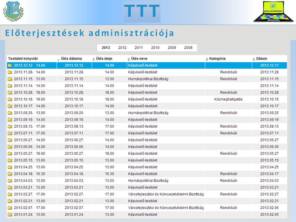 TTT Előterjesztések adminisztrációja