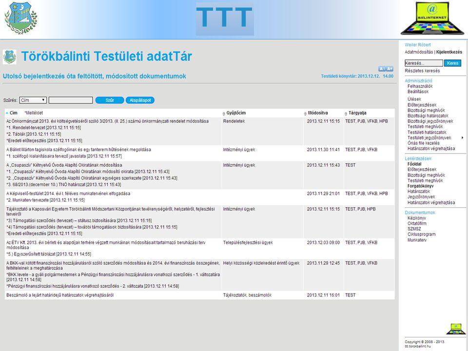 TTT Lekérdezés a honlapon