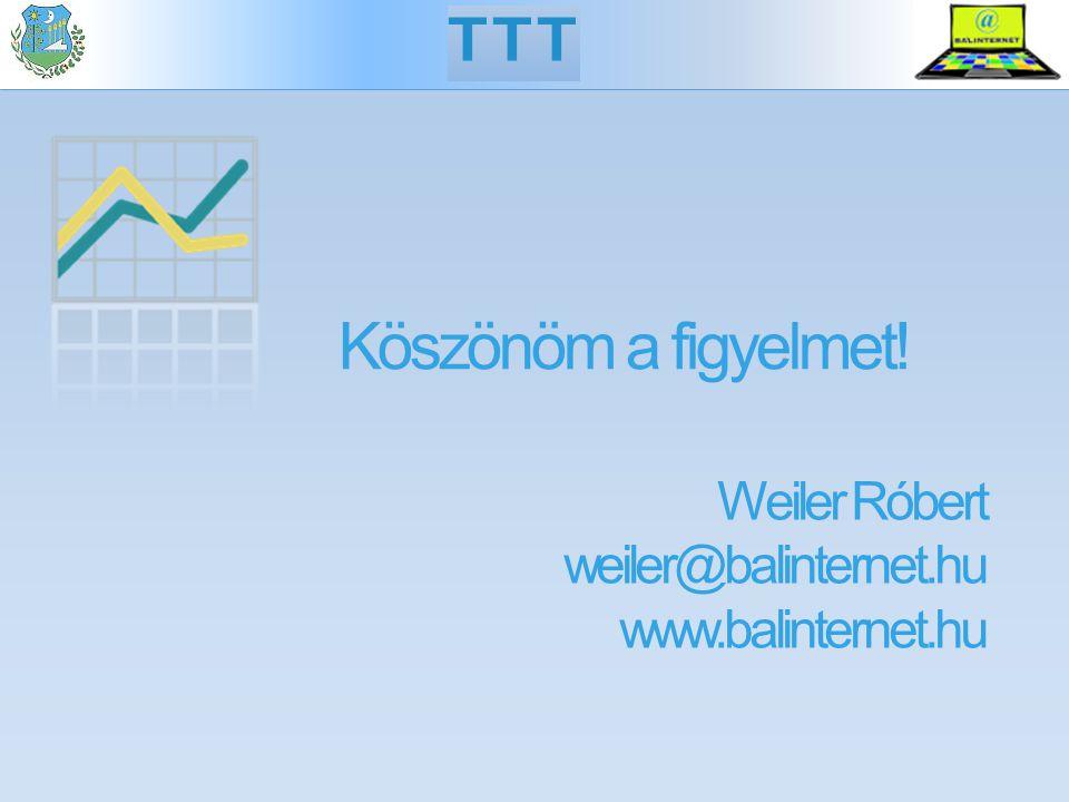 Köszönöm a figyelmet! Weiler Róbert weiler@balinternet.hu www.balinternet.hu TTT
