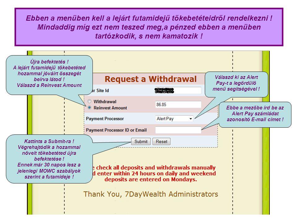 Ha visszatérsz a WealthClub menübe, akkor ellenőrizni tudod az újra befektetés végrehajtódását .
