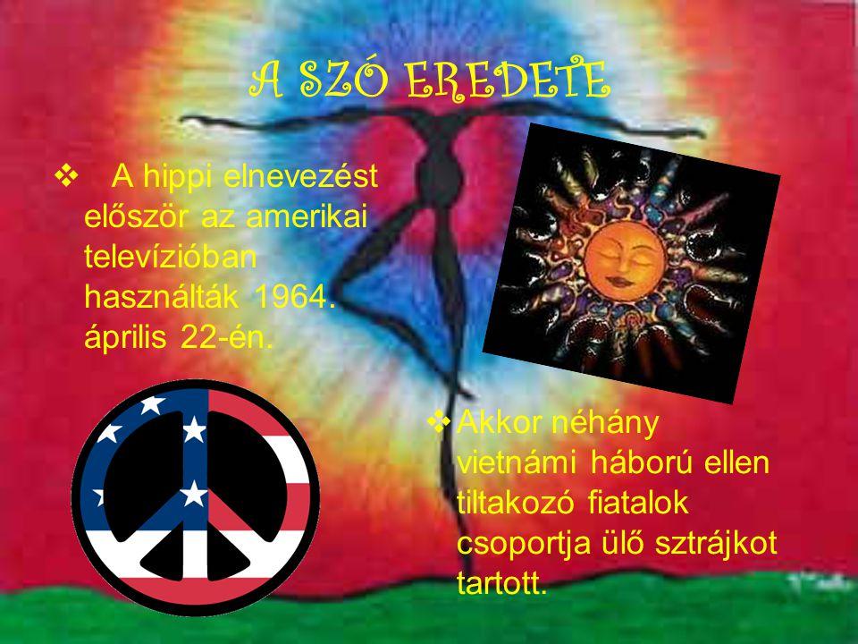 A SZÓ EREDETE  A hippi elnevezést először az amerikai televízióban használták 1964.