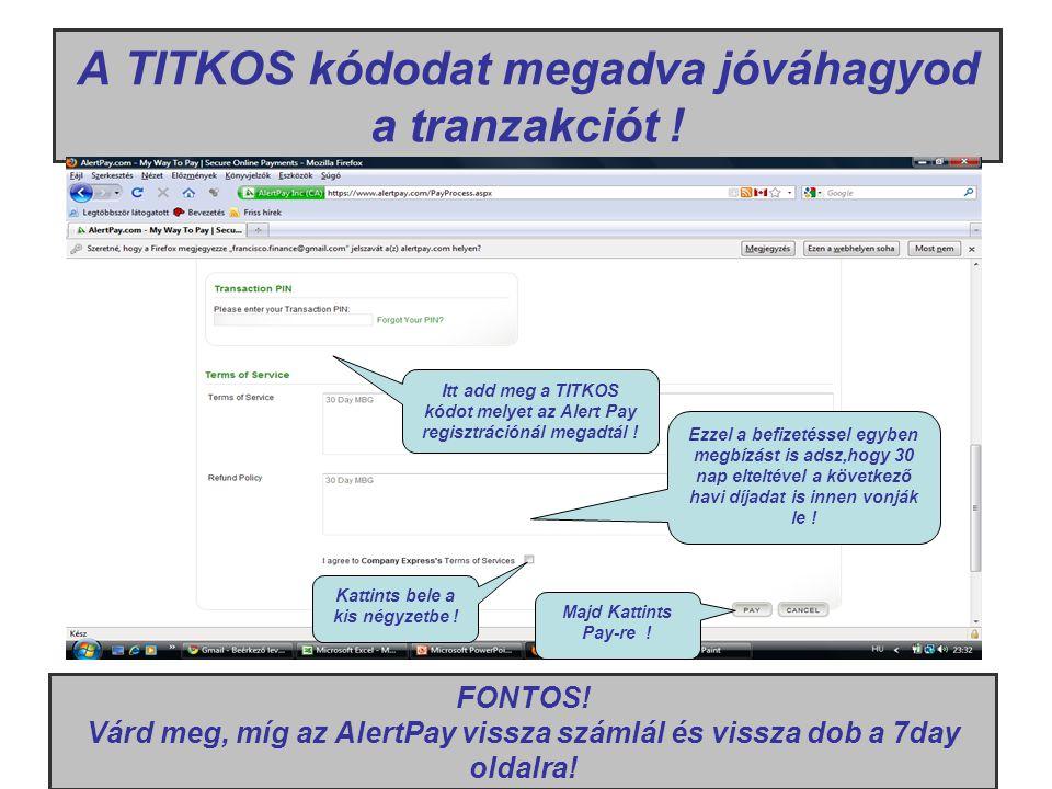 A TITKOS kódodat megadva jóváhagyod a tranzakciót ! Itt add meg a TITKOS kódot melyet az Alert Pay regisztrációnál megadtál ! Ezzel a befizetéssel egy