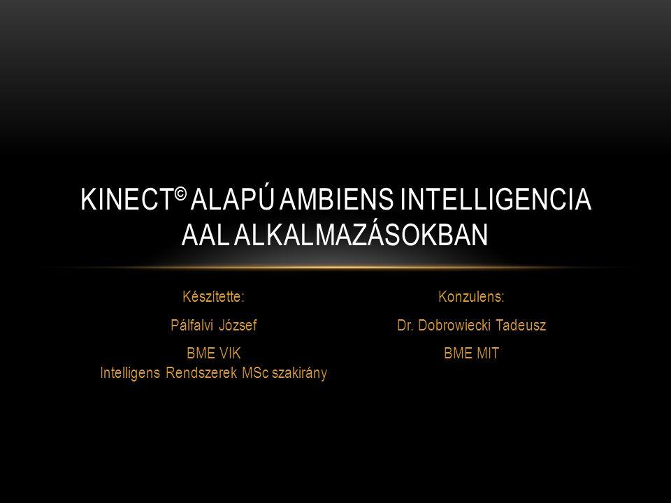 KITEKINTÉS KINECT ALAPÚ AMBIENS INTELLIGENCIA AAL ALKALMAZÁSOKBAN 12 Kinect mikrofon használata  segítségkérés, hangvezérlés szkeleton és nyers távolságadatok felhasználása gesztusfelismeréshez felismerendő gesztusok szűrése kontextus alapján  teljesítmény növekedés falak és egyéb sík felületek automatikus felismerése a mélységkép alapján (sík illesztő algoritmusok) felhasználói felület kiegészítése: kontextus szerkesztő eszköz következtető rendszer szabályainak példák alapján való tanítása
