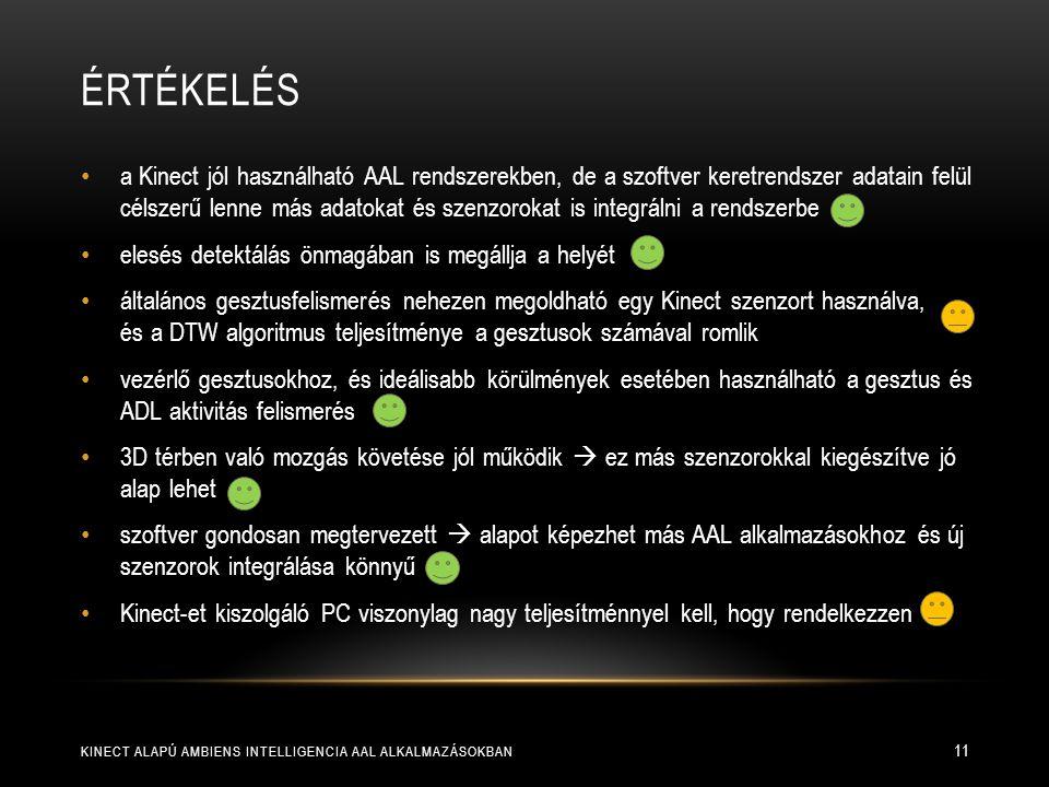 ÉRTÉKELÉS KINECT ALAPÚ AMBIENS INTELLIGENCIA AAL ALKALMAZÁSOKBAN 11 a Kinect jól használható AAL rendszerekben, de a szoftver keretrendszer adatain fe