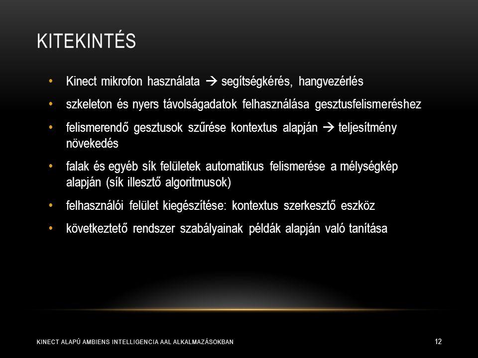 KITEKINTÉS KINECT ALAPÚ AMBIENS INTELLIGENCIA AAL ALKALMAZÁSOKBAN 12 Kinect mikrofon használata  segítségkérés, hangvezérlés szkeleton és nyers távol