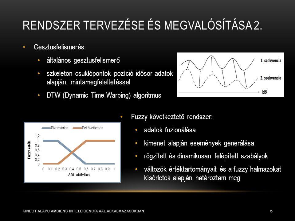 SZOFTVER TERVEZÉSE ÉS IMPLEMENTÁLÁSA KINECT ALAPÚ AMBIENS INTELLIGENCIA AAL ALKALMAZÁSOKBAN 7 objektum orientált, komponens alapú  komponensek könnyen cserélhetők, más szenzorokkal egyszerűen bővíthető eseményvezérelt, többszálú, valós-idejű működés  szinkronizáció szenzoradatok  adatfeldolgozó  gesztusfelismerő és következtető rendszer adatok elérése jól definiált, bővíthető interfészeken keresztül  adatok generálása és felhasználása szétválik átlátható, informatív felhasználói felület