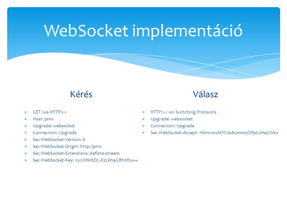 WebSocket implementáció Kérés  GET /ws HTTP/1.1  Host: pmx  Upgrade: websocket  Connection: Upgrade  Sec-WebSocket-Version: 6  Sec-WebSocket-Ori
