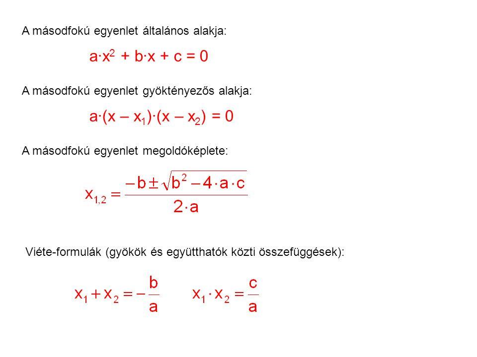 A másodfokú egyenlet általános alakja: A másodfokú egyenlet gyöktényezős alakja: A másodfokú egyenlet megoldóképlete: Viéte-formulák (gyökök és együtthatók közti összefüggések): a·x 2 + b·x + c = 0 a·(x – x 1 )·(x – x 2 ) = 0