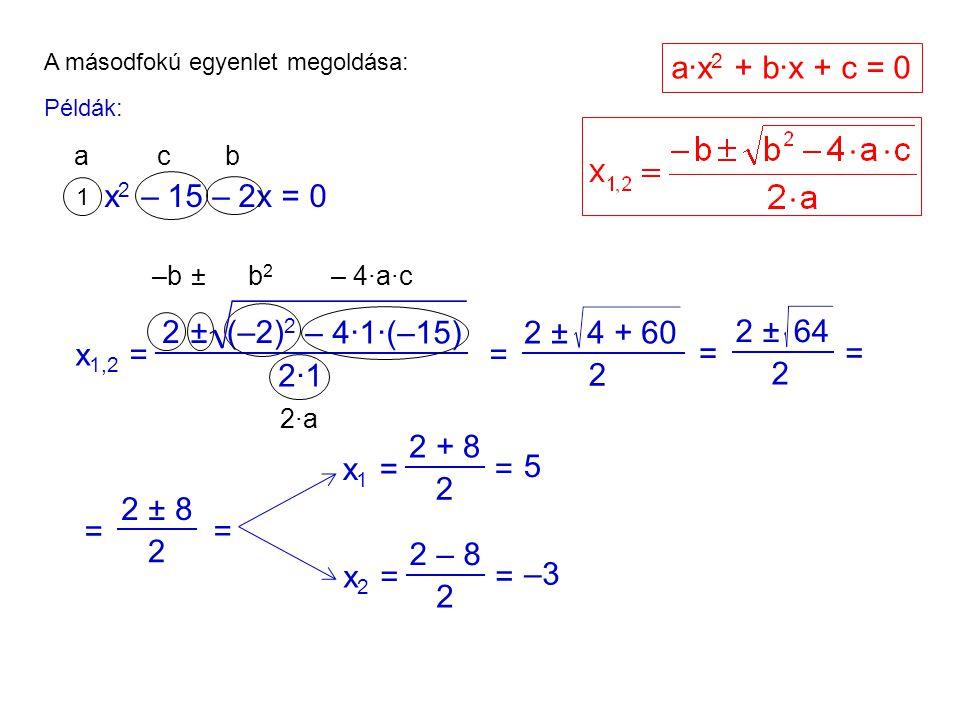 A másodfokú egyenlet megoldása: Példák: x 2 – 15 – 2x = 0 1 acb x 1,2 = 2±(–2) 2 2·12·1 = 2 ± 2 4 + 60 = 2 ± 2 64 = –b ±b2b2 – 4·a·c 2·a2·a a·x 2 + b·x + c = 0 = 2 ± 2 8 = – 4·1·(–15) x 1 = 2 + 2 8 = 5 x 2 = 2 – 2 8 = –3