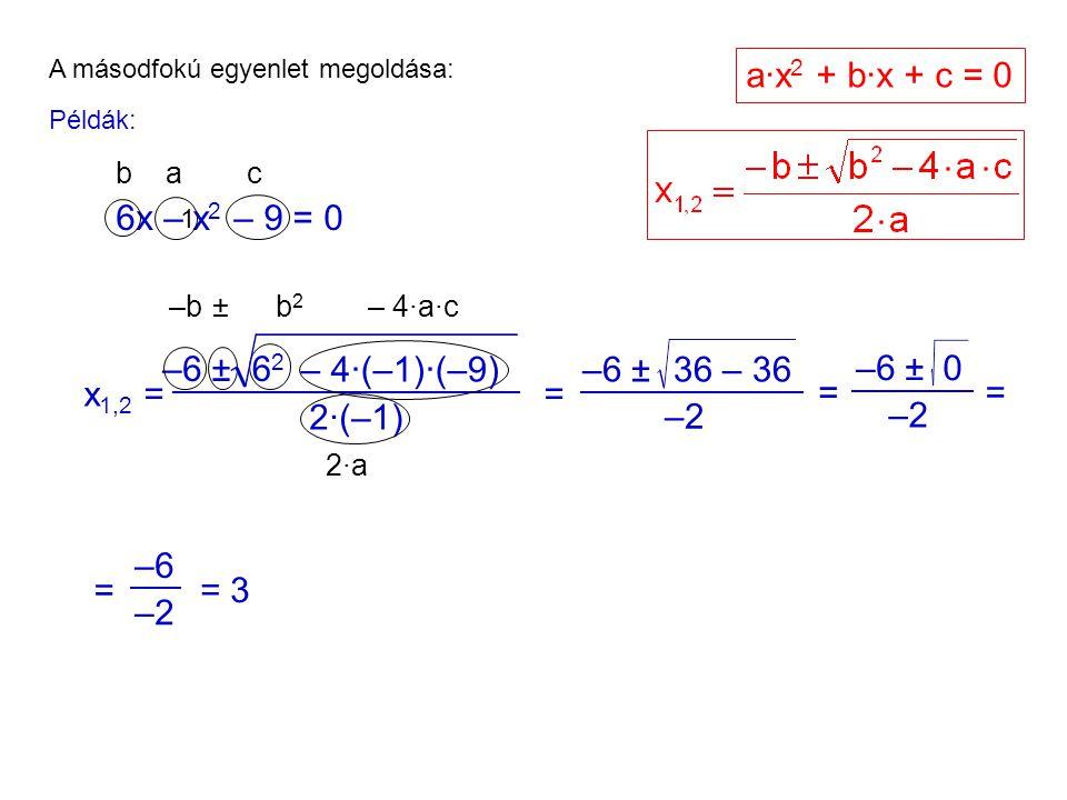 A másodfokú egyenlet megoldása: Példák: 6x – x 2 – 9 = 0 1 ac b x 1,2 = –6±6262 2·(–1) = –6 ± –2 36 – 36 = –6 ± –2 0 = –b ±b2b2 – 4·a·c 2·a2·a a·x 2 + b·x + c = 0 = –6 –2 = 3 – 4·(–1)·(–9)