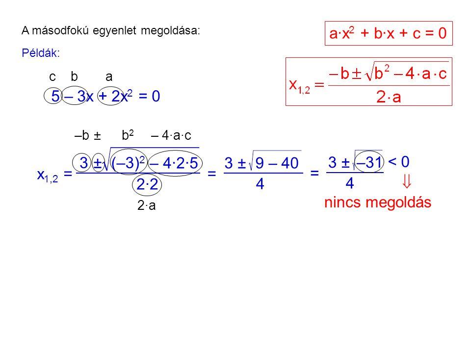 A másodfokú egyenlet megoldása: Példák: 5 – 3x + 2x 2 = 0 ac b x 1,2 = 3±(–3) 2 2·22·2 = 3 ± 4 9 – 40 = 3 ± 4 –31 –b ±b2b2 – 4·a·c 2·a2·a a·x 2 + b·x + c = 0 – 4·2·5 < 0  nincs megoldás
