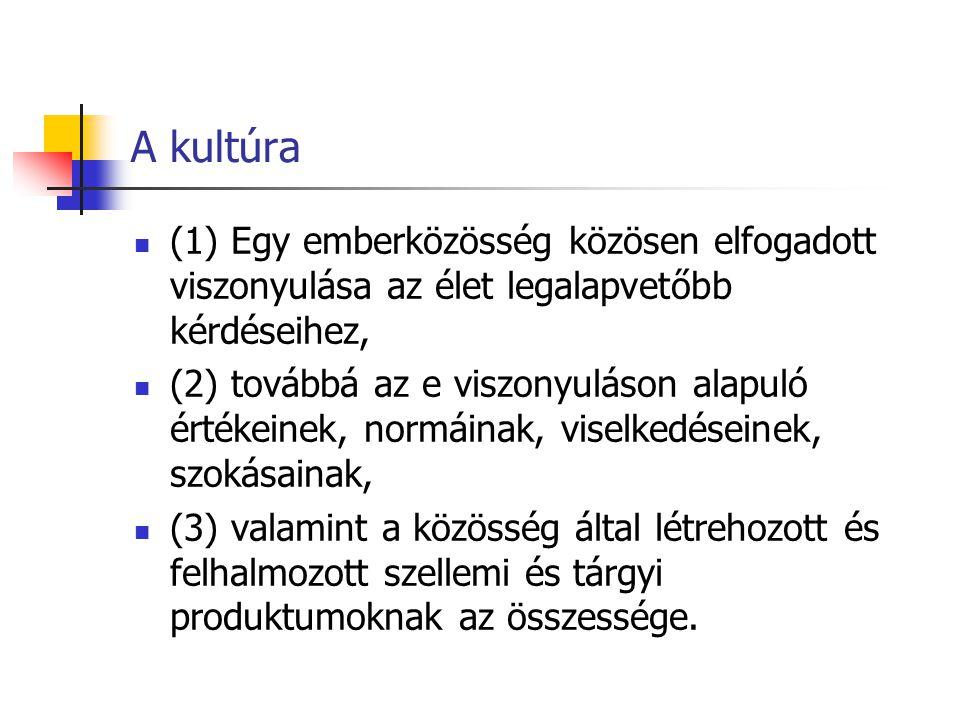 A kultúra (1) Egy emberközösség közösen elfogadott viszonyulása az élet legalapvetőbb kérdéseihez, (2) továbbá az e viszonyuláson alapuló értékeinek,