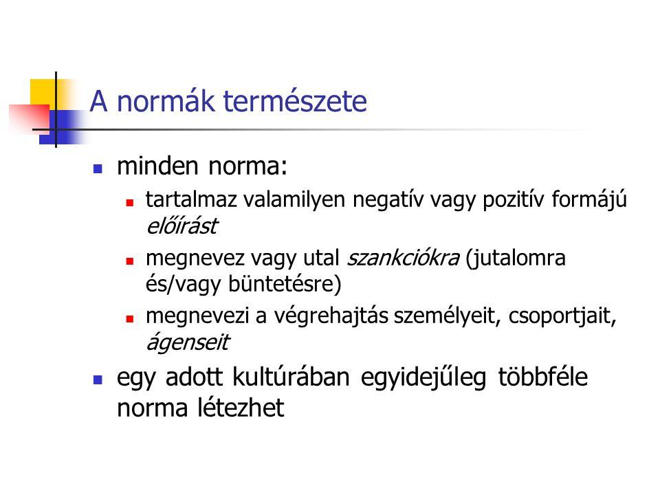 A normák természete minden norma: tartalmaz valamilyen negatív vagy pozitív formájú előírást megnevez vagy utal szankciókra (jutalomra és/vagy bünteté