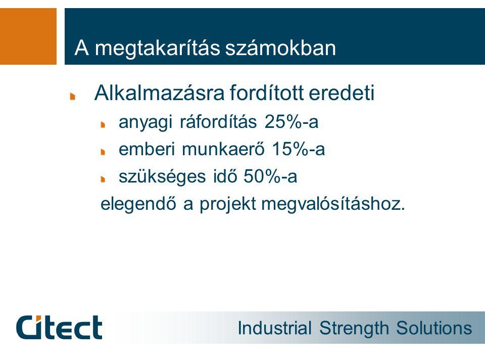 Industrial Strength Solutions A megtakarítás számokban Alkalmazásra fordított eredeti anyagi ráfordítás 25%-a emberi munkaerő 15%-a szükséges idő 50%-