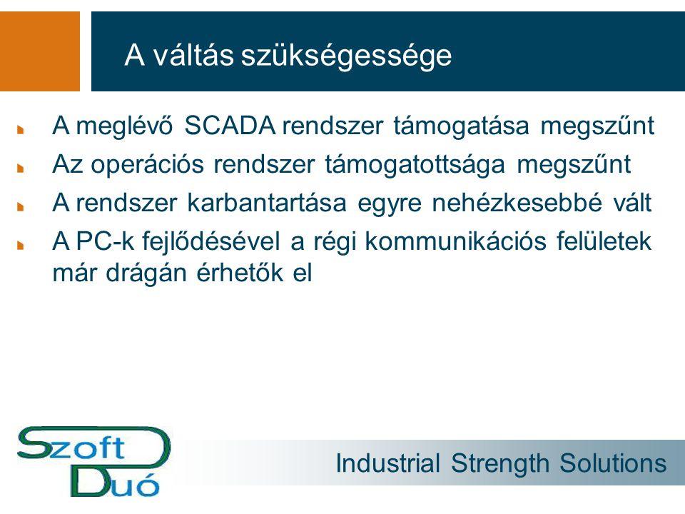 Industrial Strength Solutions A váltás szükségessége A meglévő SCADA rendszer támogatása megszűnt Az operációs rendszer támogatottsága megszűnt A rend