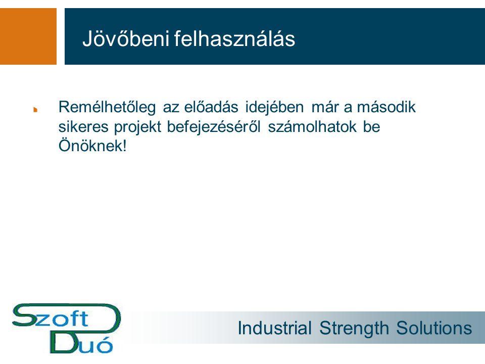 Industrial Strength Solutions Remélhetőleg az előadás idejében már a második sikeres projekt befejezéséről számolhatok be Önöknek! Jövőbeni felhasznál