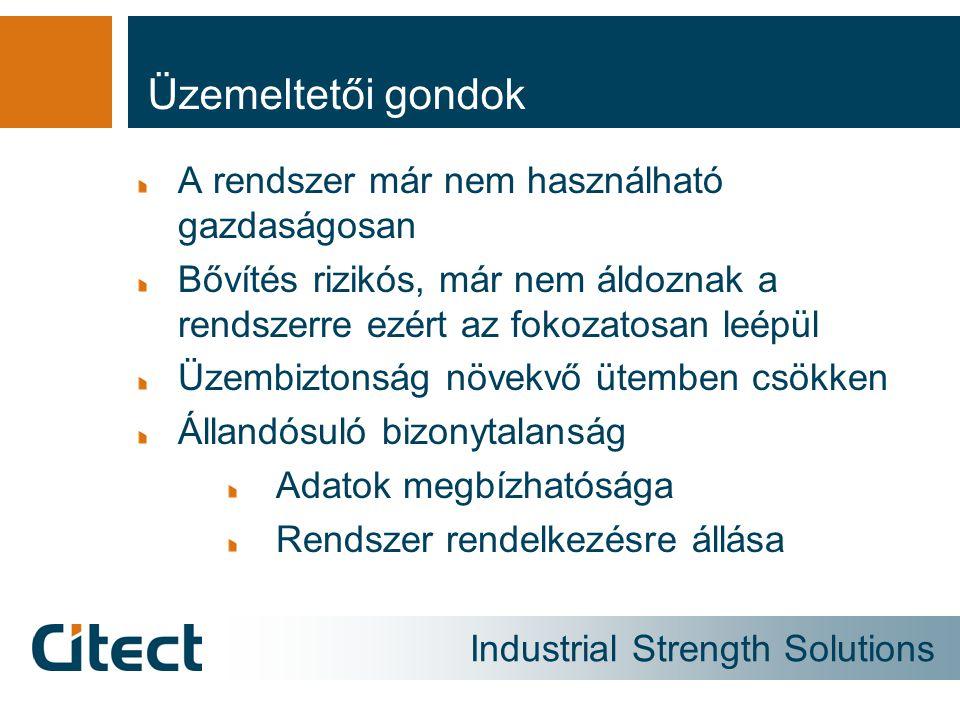 Industrial Strength Solutions Üzemeltetői gondok A rendszer már nem használható gazdaságosan Bővítés rizikós, már nem áldoznak a rendszerre ezért az f