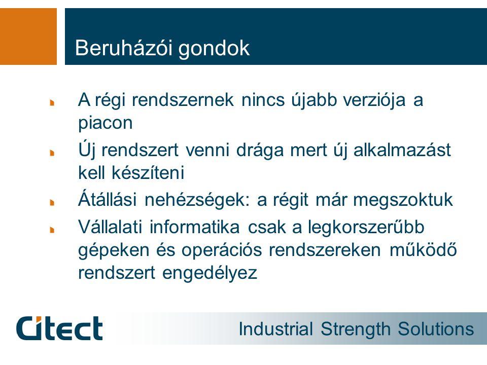Industrial Strength Solutions Beruházói gondok A régi rendszernek nincs újabb verziója a piacon Új rendszert venni drága mert új alkalmazást kell készíteni Átállási nehézségek: a régit már megszoktuk Vállalati informatika csak a legkorszerűbb gépeken és operációs rendszereken működő rendszert engedélyez