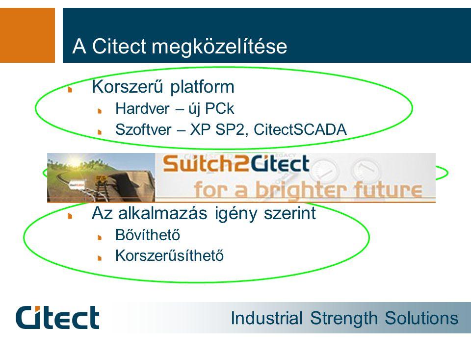 Industrial Strength Solutions A Citect megközelítése Korszerű platform Hardver – új PCk Szoftver – XP SP2, CitectSCADA A megszokott alkalmazás megtart