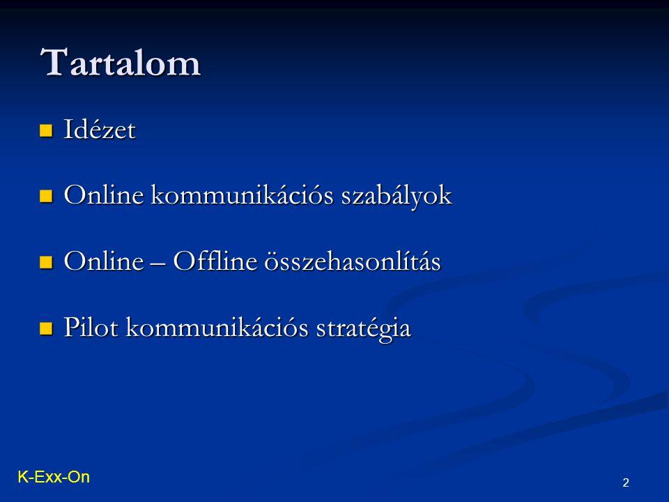 2 Idézet Idézet Online kommunikációs szabályok Online kommunikációs szabályok Online – Offline összehasonlítás Online – Offline összehasonlítás Pilot kommunikációs stratégia Pilot kommunikációs stratégia Tartalom K-Exx-On