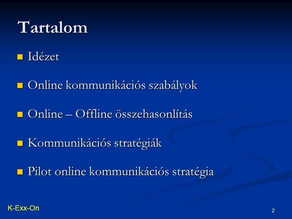 2 Idézet Idézet Online kommunikációs szabályok Online kommunikációs szabályok Online – Offline összehasonlítás Online – Offline összehasonlítás Kommunikációs stratégiák Kommunikációs stratégiák Pilot online kommunikációs stratégia Pilot online kommunikációs stratégia Tartalom K-Exx-On