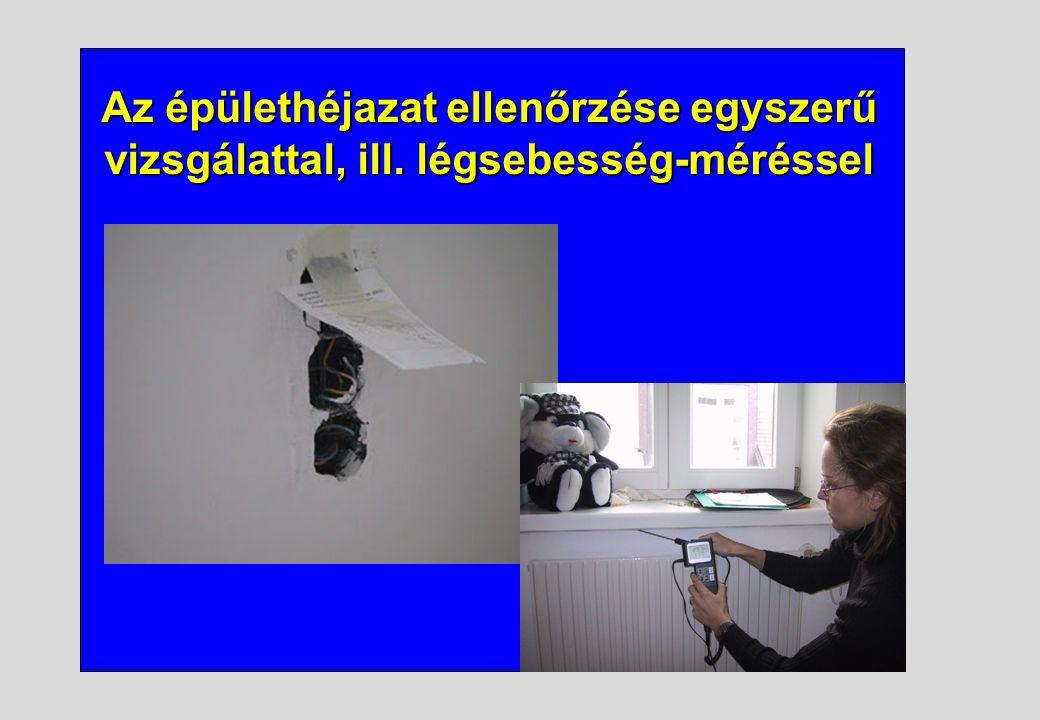 Az épülethéjazat ellenőrzése egyszerű vizsgálattal, ill. légsebesség-méréssel