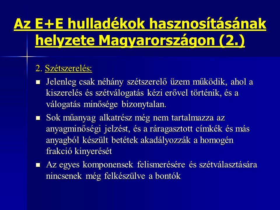 Az E+E hulladékok hasznosításának helyzete Magyarországon (2.) 2. Szétszerelés: Jelenleg csak néhány szétszerelő üzem működik, ahol a kiszerelés és sz