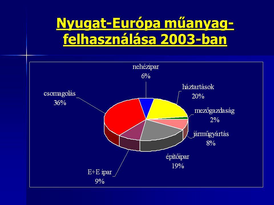 Nyugat-Európa műanyag- felhasználása 2003-ban