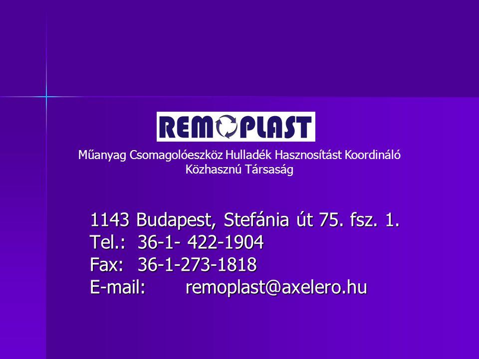 1143 Budapest, Stefánia út 75. fsz. 1. Tel.:36-1- 422-1904 Fax:36-1-273-1818 E-mail:remoplast@axelero.hu Műanyag Csomagolóeszköz Hulladék Hasznosítást