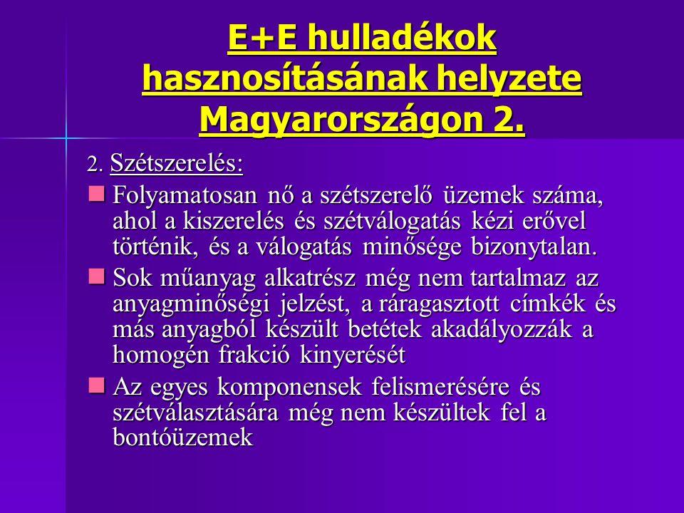 E+E hulladékok hasznosításának helyzete Magyarországon 2. 2. Szétszerelés: Folyamatosan nő a szétszerelő üzemek száma, ahol a kiszerelés és szétváloga
