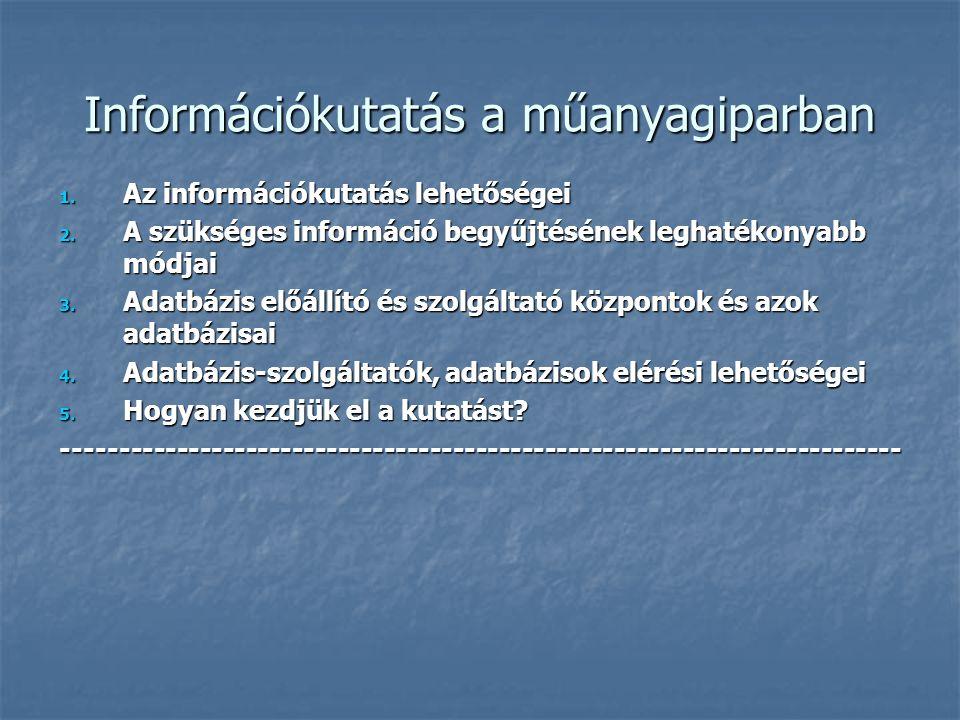 Információkutatás a műanyagiparban 2008.02.06. Hatházi István Magyar Szabadalmi Hivatal